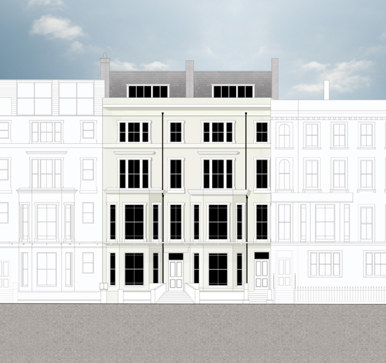 A computer drawn elevation of a John McCart Architect project for the conversion of a pair of Georgian townhouses to student accommodation.