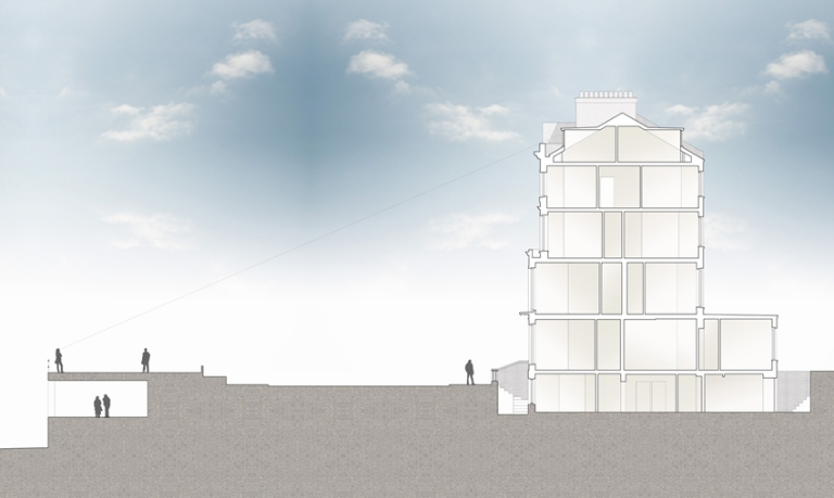 A computer drawn section through a Georgian townhouse, extending to the nearby promenade, showing how roof modifications on a conversion project can barely be seen above the existing parapet.