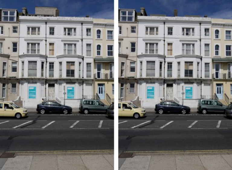 A photomontaged visual impact assessment image showing how the proposed roof modifications of a John McCart Architect scheme will not adversely affect a conservation area.