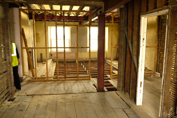 plaster and lath, floor refurbishment, structural steelwork, exposed joists