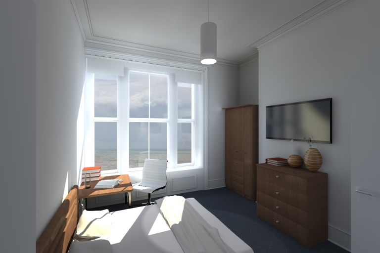 A computer generated image showing the view of the sea from a room in a Georgian townhouse conversion to student accommodation.