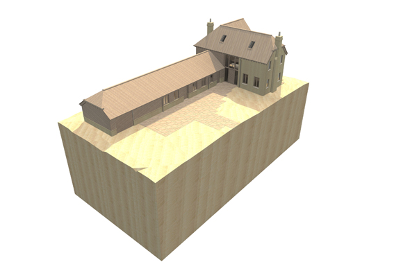 john mccart architect, aerial view, country house, site model