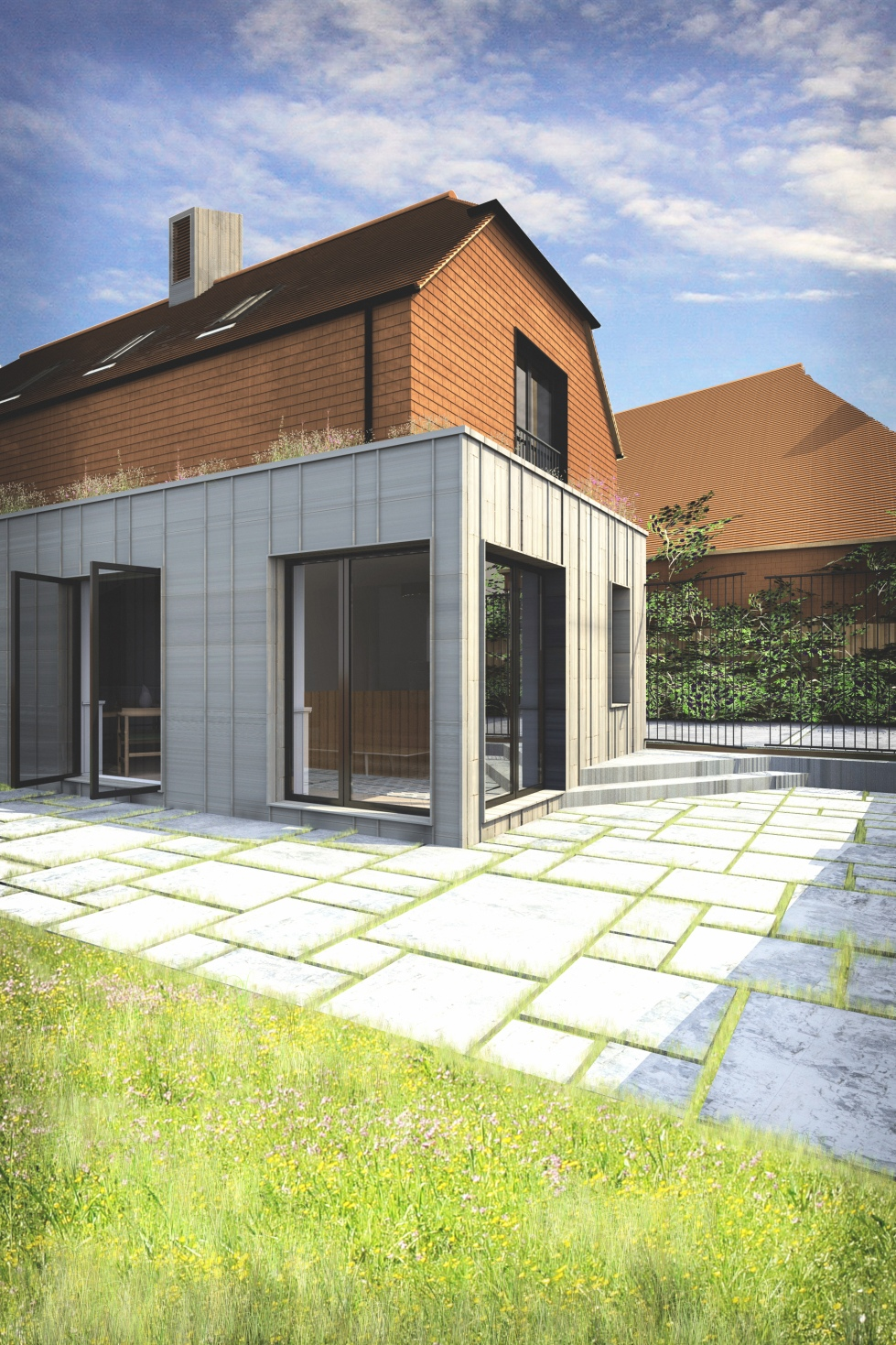 new house, Battle, zinc cladding, listed building, garden, stone paving, tile cladding
