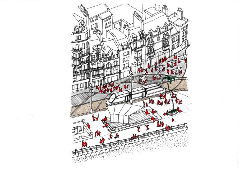 seafront, promenade, Hastings, White Rock, pedestrianised, tram, bandstand, performance, cafe culture, urban design