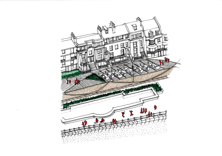 seafront, promenade, Hastings, White Rock, pedestrianised, tram, integrated parking, urban design
