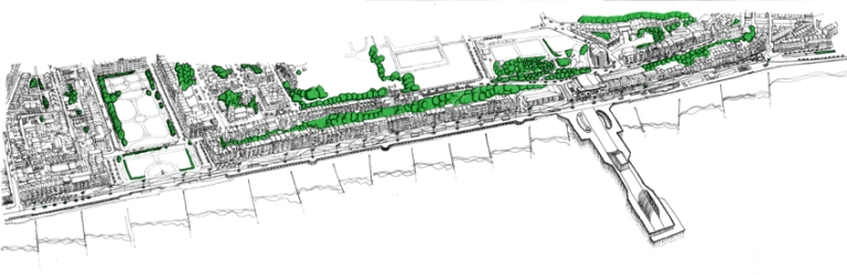 seafront, promenade, Hastings, White Rock, pedestrianised, tram, urban design, sketch, axonometric