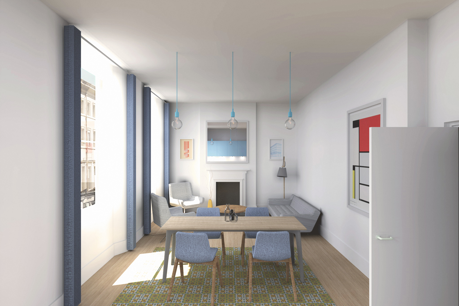 open plan, apartment, town centre
