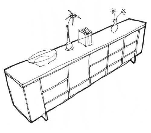 black and white sketch of an innovative sideboard kitchen with integrated appliances and lift up lid in the closed position