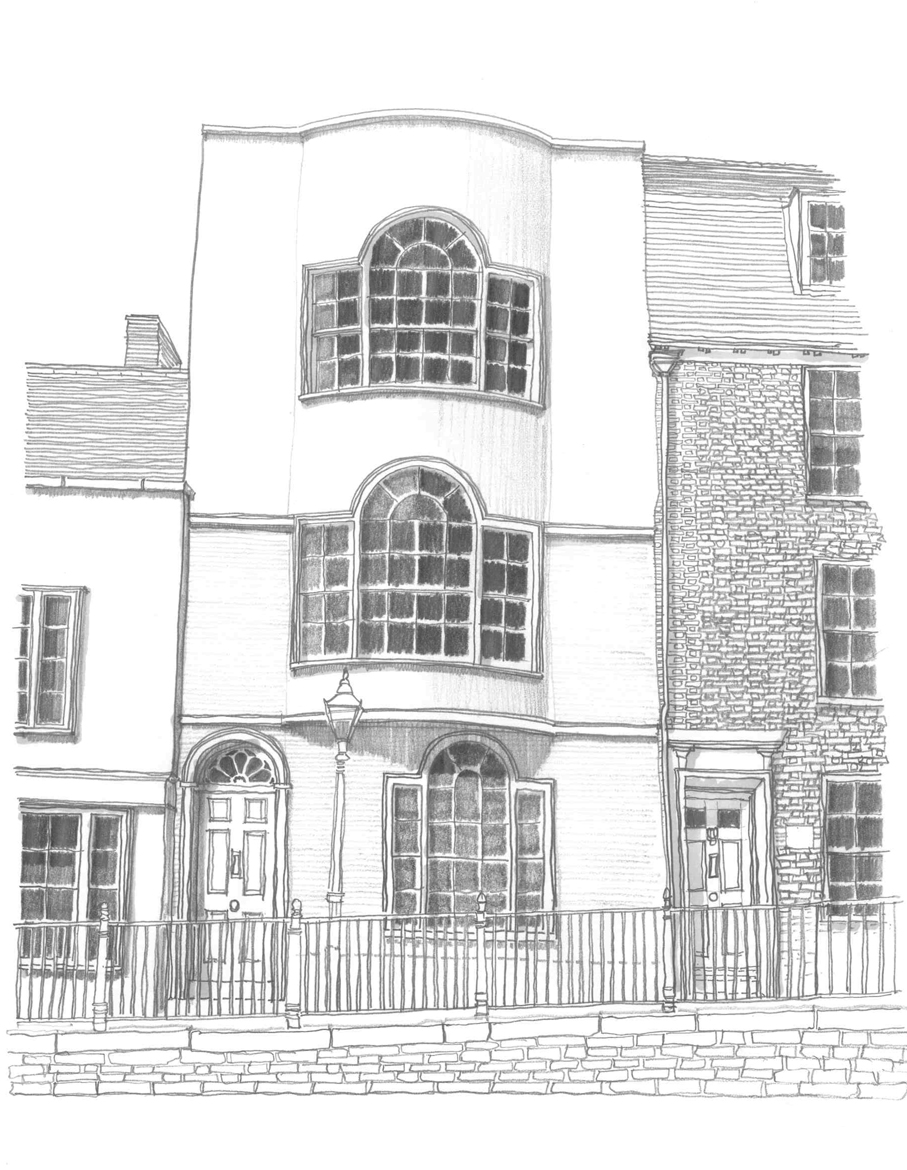 pencil sketch by john mccart architect of the street elevation of a grade two listed townhouse on the high street in hastings old town