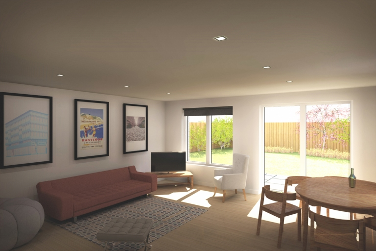 a computer generated image showing a sun lit room with views out to the lush garden beyond