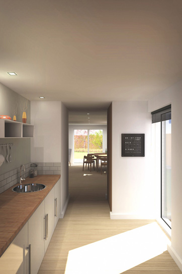 a computer generated image of the kitchen of the new homes showing the view from the kitchen, through the day room to the garden beyond
