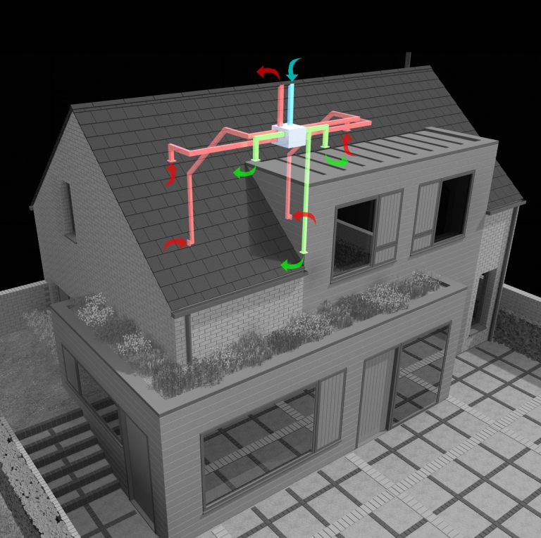 a computer generated image of the new home with detail of the mechanical ventilation heat recovery system shown overlaid