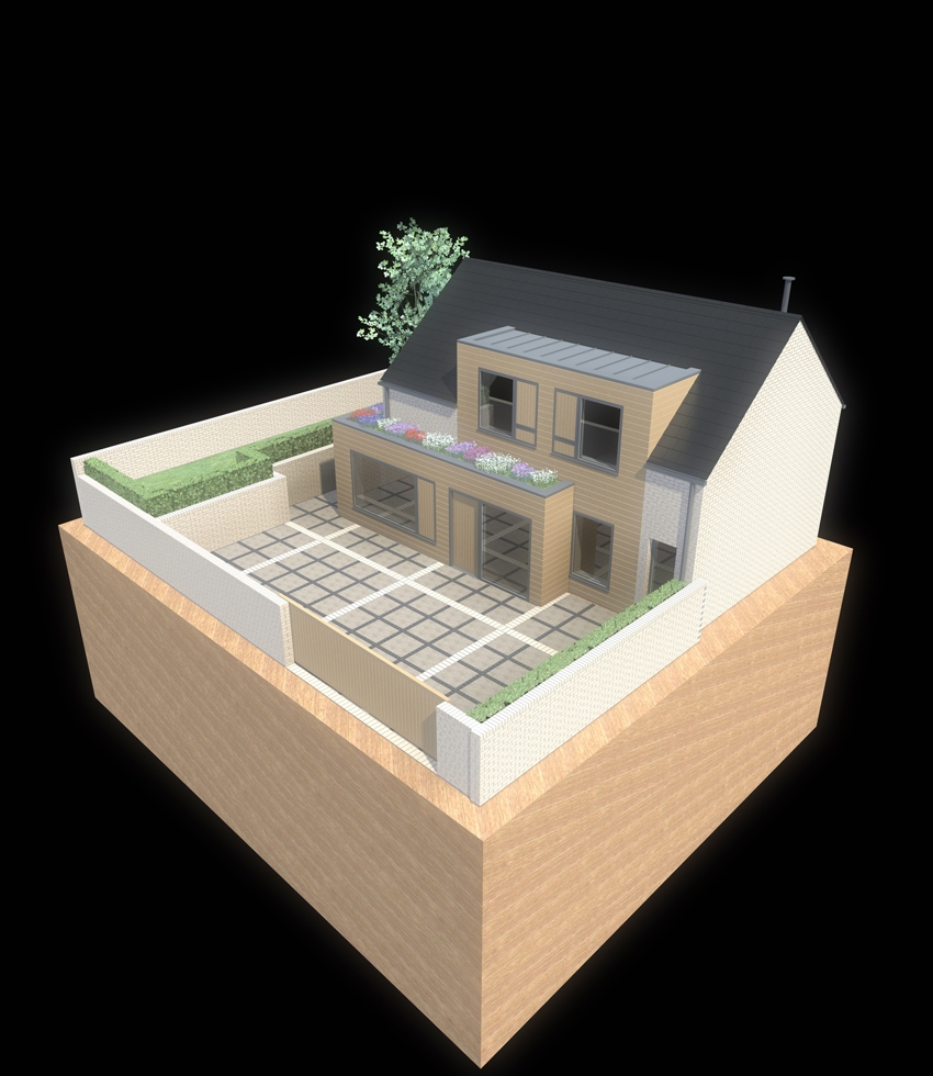 a computer generated image of the new home set within modern landscape