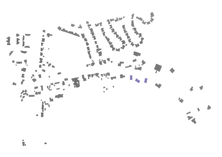 A figure ground, or a plan showing only the plan view of the buildings in the village, with the proposed new homes shown shaded in purple, intended to illustrate how the new homes will nestle into the village