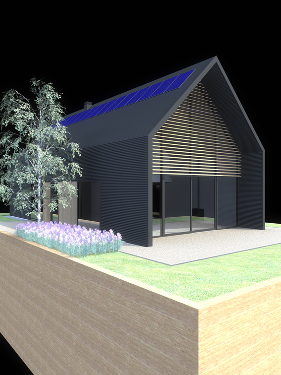 A computer generated image showing the modern home, clad in anthracite profile metal cladding with hardwood panels and a fully glazed gable end, also showing how the new home is sited on a patio of resin bound gravel, alongside a silver birch tree and lilac feature planting bed.