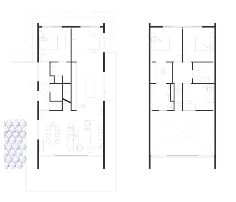 A computer drawing showing the plan of the ground and first floors of the new homes, illustrating the open plan nature of the house and the spacious nature of the rooms