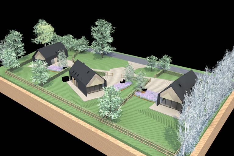 A computer generated image showing three new, modern homes with fully glazed gable ends, located in a verdant landscape of grass, trees and vivacious planting.