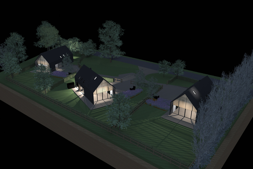 A computer generated image showing three new, modern homes with fully glazed gable ends, located in a verdant landscape of grass, trees and vivacious planting, with the interiors of the homes lit to show how they might appear at night.