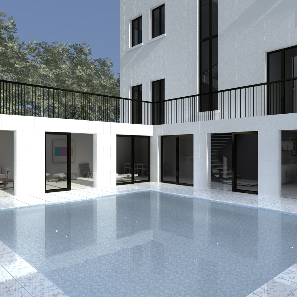 a computer generated image of the exterior of a white stone country house showing how the lower ground floor accommodation wraps around a reflecting pool, with views through large format sliding bronze doors to the modern interior
