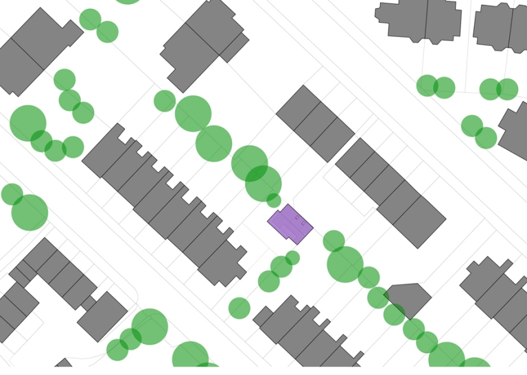 a computer drawn plan showing the new home, shaded in purple in amongst existing homes, shaded grey and trees shaded in green