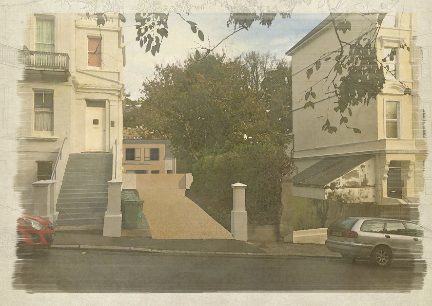 a computer generated image in the style of a water colour painting showing the new home as viewed from the street, set back from the street so as to appear like a coach house