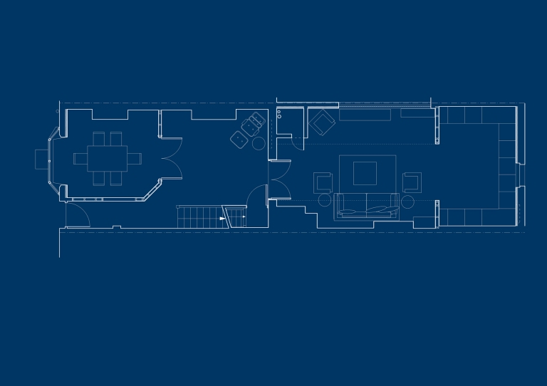 A computer drawn plan of the ground floor at Dorset Place, showing sixty five square metres of accommodation including dining room, gallery, living room and kitchen.