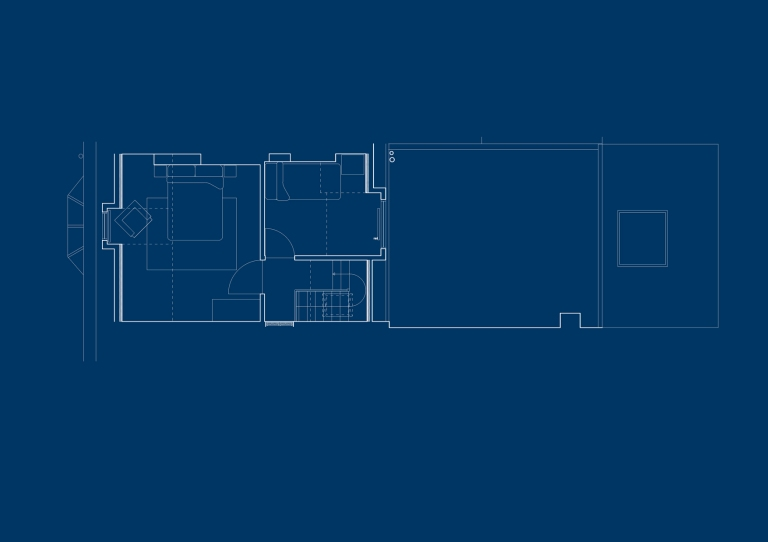 A computer drawn plan of the second floor at Dorset place showing twenty five square metres of accommodation including double bedroom and single bedroom.