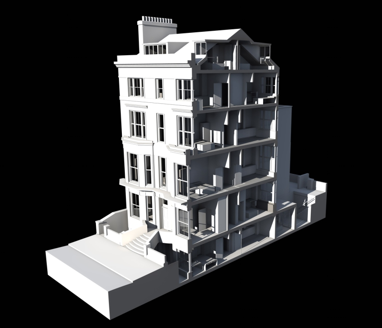 A computer produced image of a section through a Georgian townhouse conversion to provide student accommodation, showing the relationship of the building to the street and the new roof accommodation.
